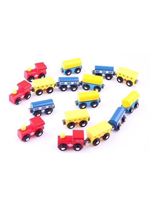 Learning Toys 16'lı Ahşap Magnet Tren Vagonu Seti Renkli